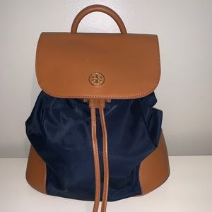 Navy & Brown Tory Burch Backpack